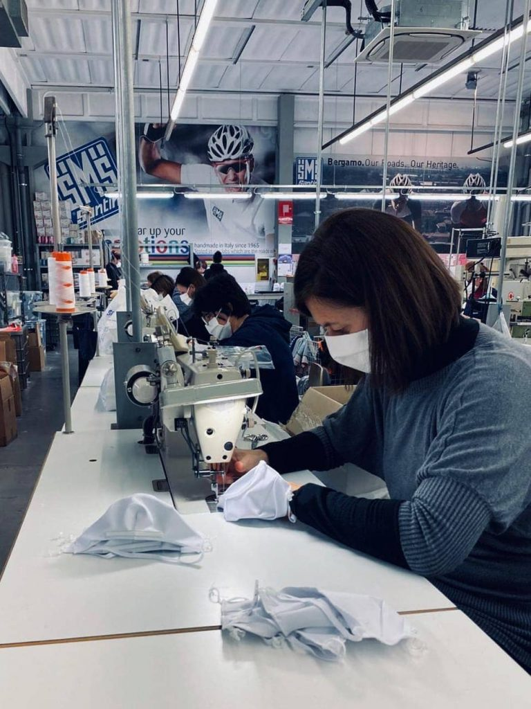 The mask production line of Santini